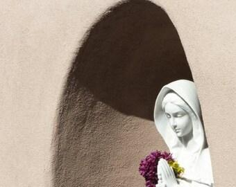 Tiny Santa Fe Treasure - Lourdes in Santa Fe - City Novellas - Southwest sculpture garden - dove white, taupe, cerulean blue, purple