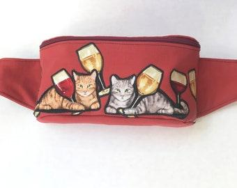 Cats and Wine Fanny Pack Bum Bag Hip Bag Festival Bag Hip Sack Purse Sling Bag BackPack Festie Gear