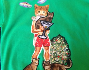 All I Want For Christmas Are Kitties And Martinis Ugly Christmas Sweatshirt