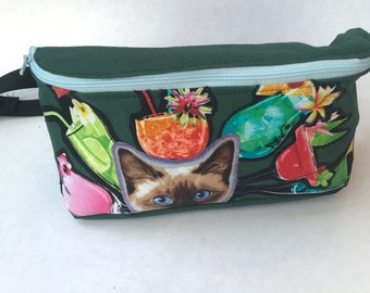 Cat and Cocktails Fanny Pack Festival Bag Bum Bag Marsupial Pouch Hip Bag Carryall Rave Wear
