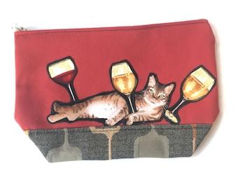 Chardonnay Cat Clutch Zippered Pouch Makeup Bag Accessories Case Pencil Case Coin Bag