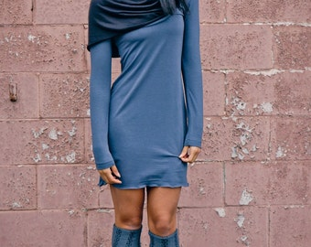 Hooded Cowl Neck Dress