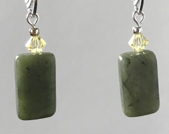 Serpentine and yellow Austrian crystal earrings