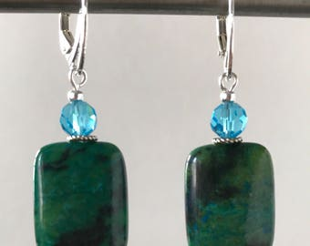 Speckled stone and aquamarine crystal earrings