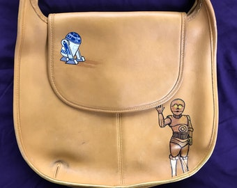 R2D2 and C3PO on tatooine: upcycled hand painted purse.