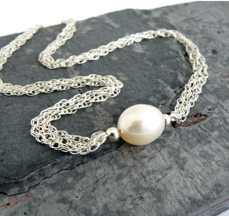 d6a8423f2dd3b9 Single Pearl Necklace Genuine Pearl Jewelry White Freshwater | Etsy