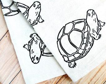 Gopher Tortoise Block Printed Cotton Kitchen Tea Towel