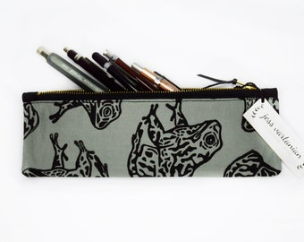 Gopher Frog Block Printed Zipper Pencil Pouch