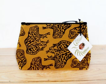 PRE ORDER Gopher Frog Block Printed Gold Zipper Pouch