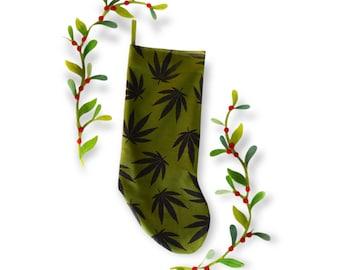 Hemp Leaf Block Printed Christmas Stocking