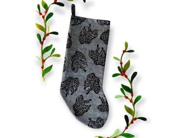 Gopher Frog Linen Block Printed Christmas Stocking