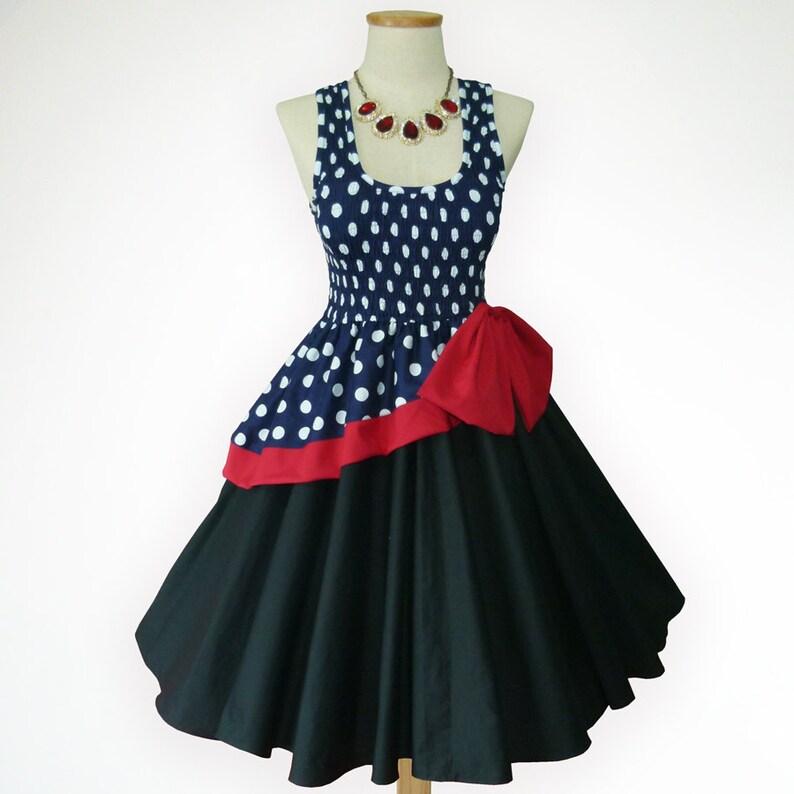 ea97ade5a Fantastic Dreams Vintage Blue Polka Dot Black Skirt 50s Pin up