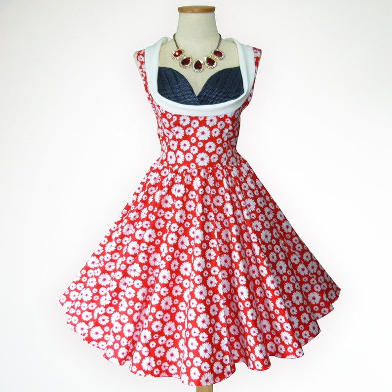 9a30608a36b Blossom Red Adorable Daisy 50s Pin up Rockabilly Swing Dress