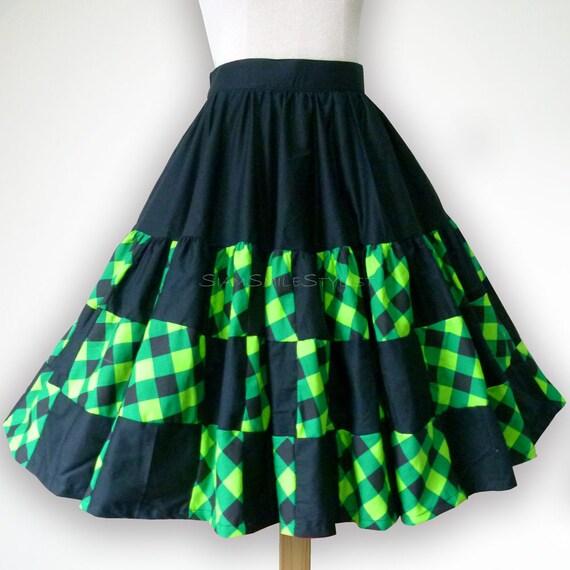 Black And Green Tartan Patchwork 50s Swing Skirt Rockabilly Etsy