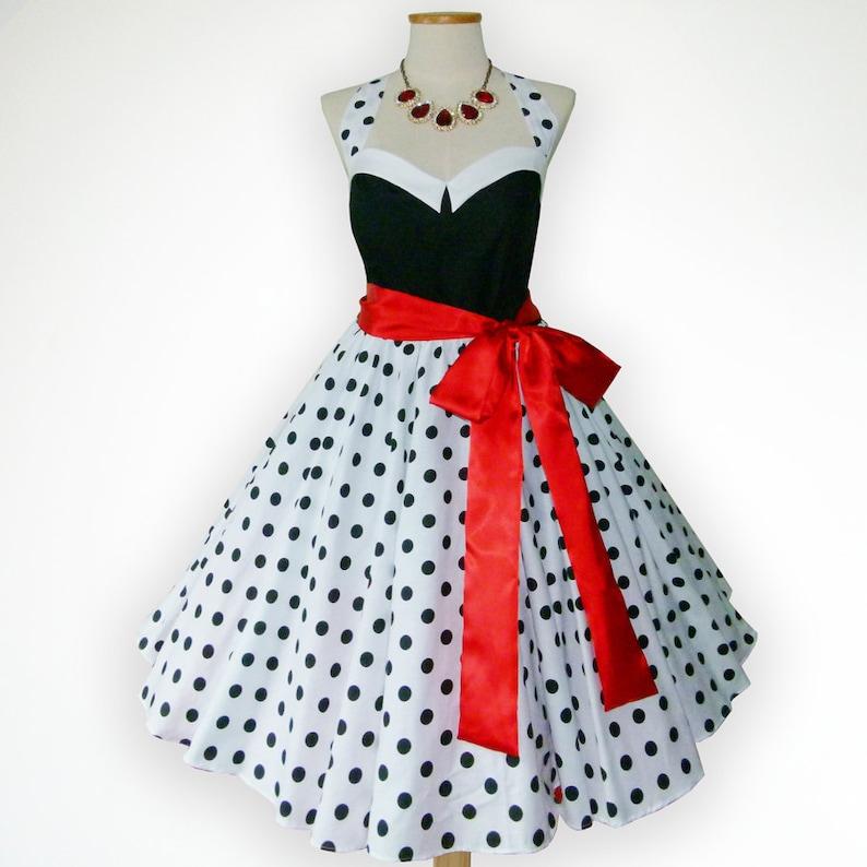 7bb52096589e Bunny Black & White Polka Dot 50s Pin up Rockabilly Swing | Etsy