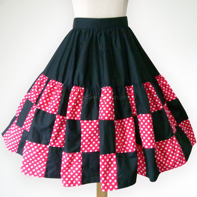 768295e4c7be Black and Red Polka Dot Patchwork 50s Swing Skirt Rockabilly | Etsy