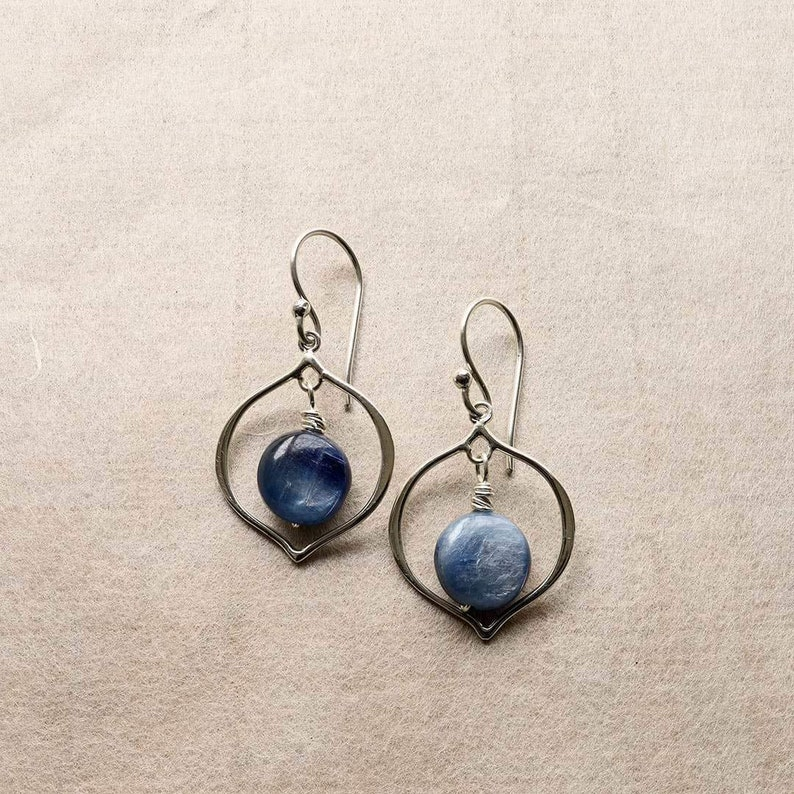 Blue Kyanite Hoop Earrings Yin and Yang Jewelry Blue Gemstone Hoop Earrings Chakra Jewelry Meditation Jewelry Wire Wrapped Jewelry