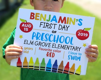 Editable First day of school sign, personalized school sign, Printable sign, Back to school print, 8x10 sign, preschool print