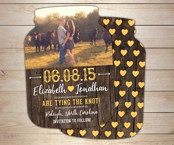 Rustic Save the Date Cards, Country Mason Jar shaped cards, Photo Wedding Announcements -- 10 die cut printed cards with envelopes