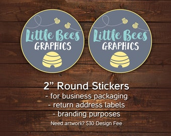 """Packaging stickers, Round Business stickers, Stickers with your logo, 2"""" round stickers for business, Branding stickers, Sheets of 24"""