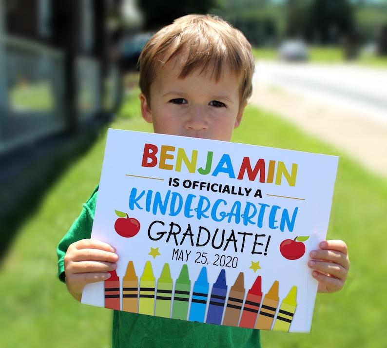 Kindergarten print personalized school sign 8x10 sign Graduation print Printable sign Editable Kindergarten graduation sign