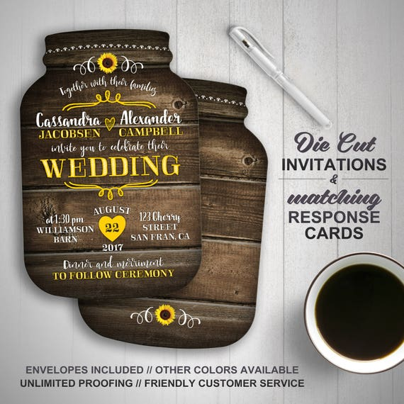 Sunflower Wedding Invitation Mason Jar Wedding Invitations Mason Jar Shaped Cards Country Wedding Printed Wedding Invitations Rustic