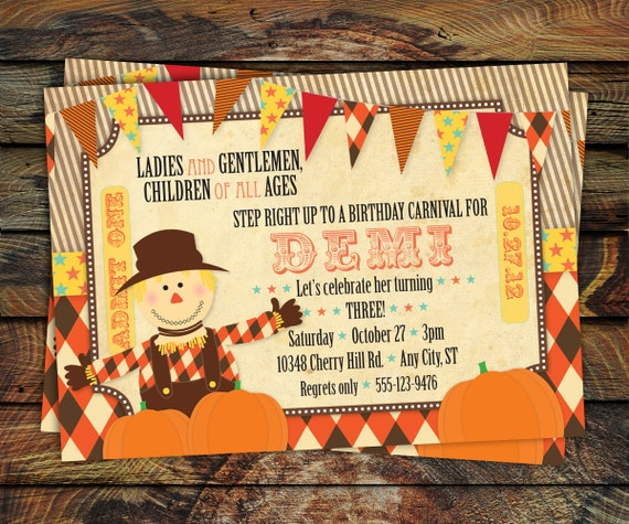 Fall Carnival Invitation Pumpkin Patch