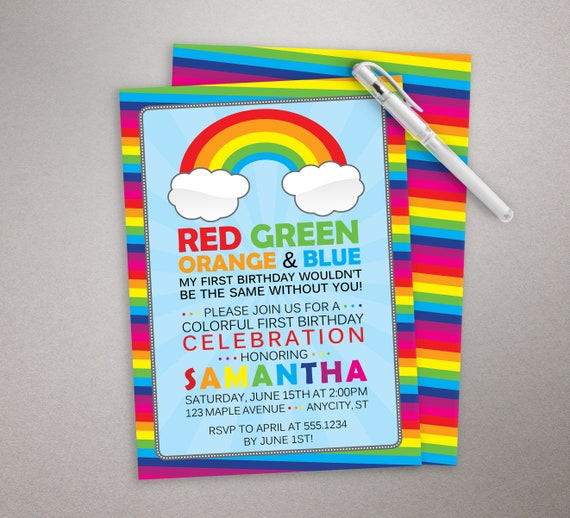 rainbow birthday invitation colorful birthday party invite etsy