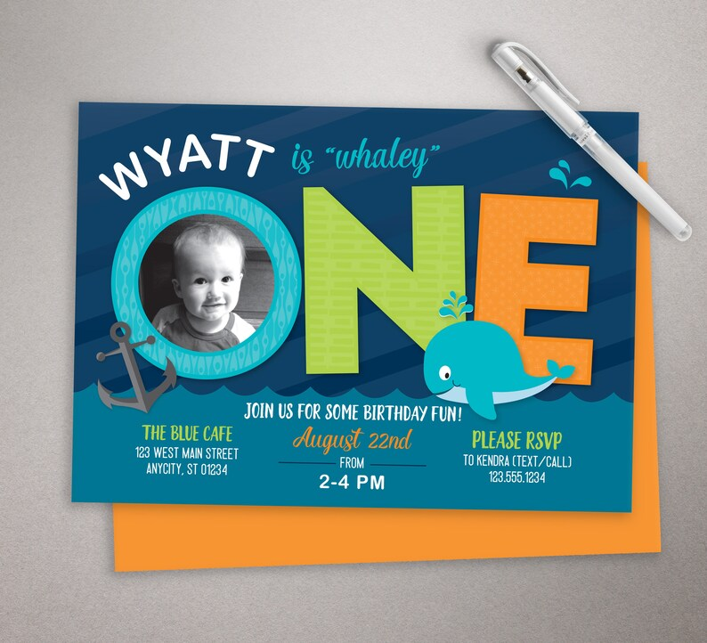 First Birthday Invitation Boy Nautical Whale Party Invite Photo