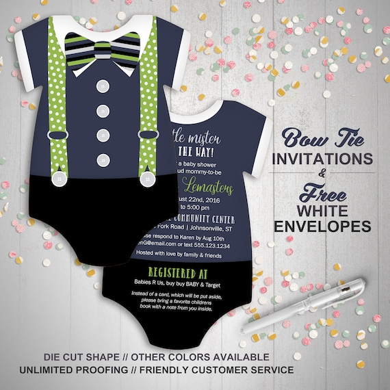 Bowtie baby shower invitation set blue suspenders invitation stopboris Choice Image
