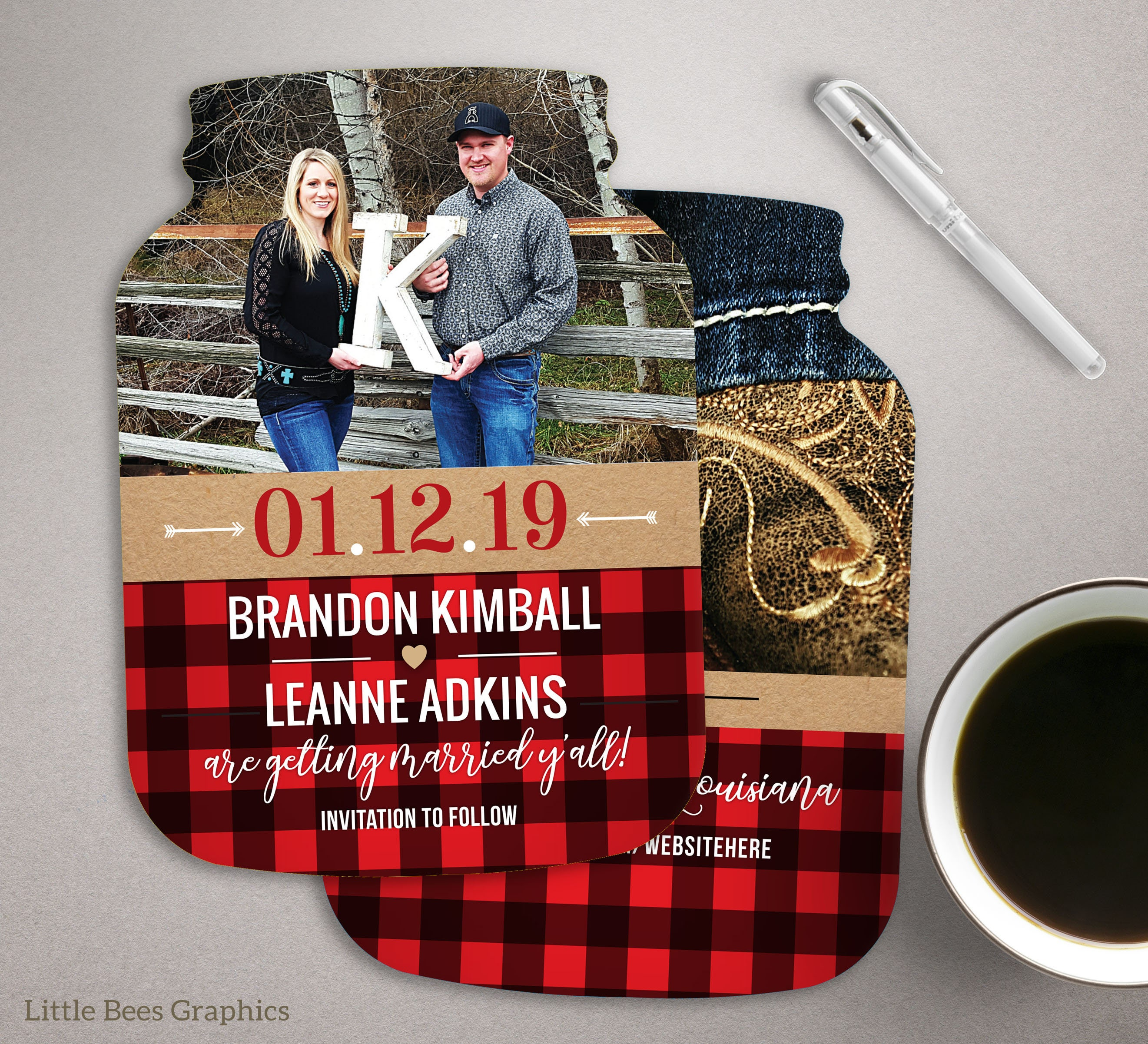 Plaid Save the Date Cards Southern Themed Mason Jar shaped | Etsy