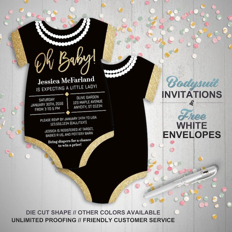 9f268b1de Glitter & Pearls Baby Shower Invitations girl baby shower | Etsy