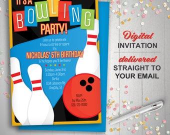 Printable Bowling Invitation, Retro bowling invite, bowling birthday invitation, kids birthday, bowling party invitations, diy invitations