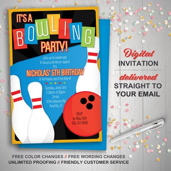 Bowling Zaproszenie Retro Bowling Zaprosić Kręgle Urodziny Etsy