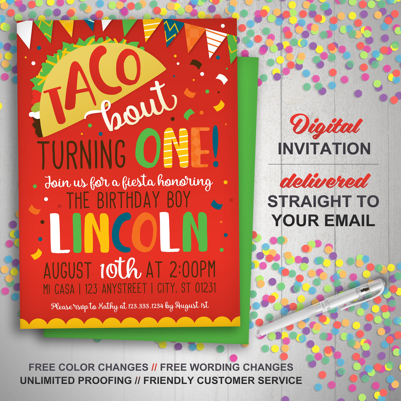 Taco Smash Invitation Taco 1st Birthday Invitation Fiesta   Etsy