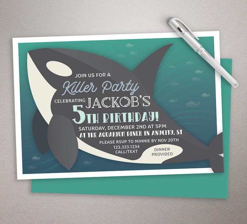 Killer Whale Birthday Invitation Ocean Boys