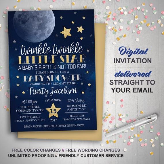 Moon Stars Baby Shower Invitation Twinkle Twinkle Little Etsy