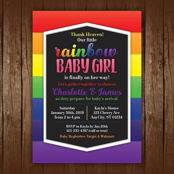 Rainbow Baby Shower Invitations Rainbow Baby Shower Etsy
