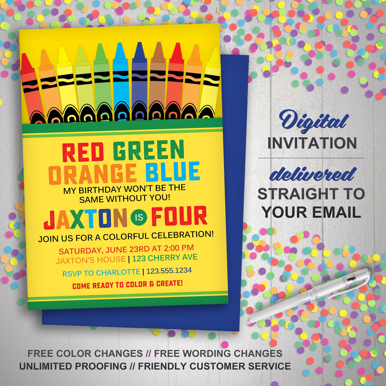 Crayon Box Invitation Crayon Birthday Party Art Birthday | Etsy