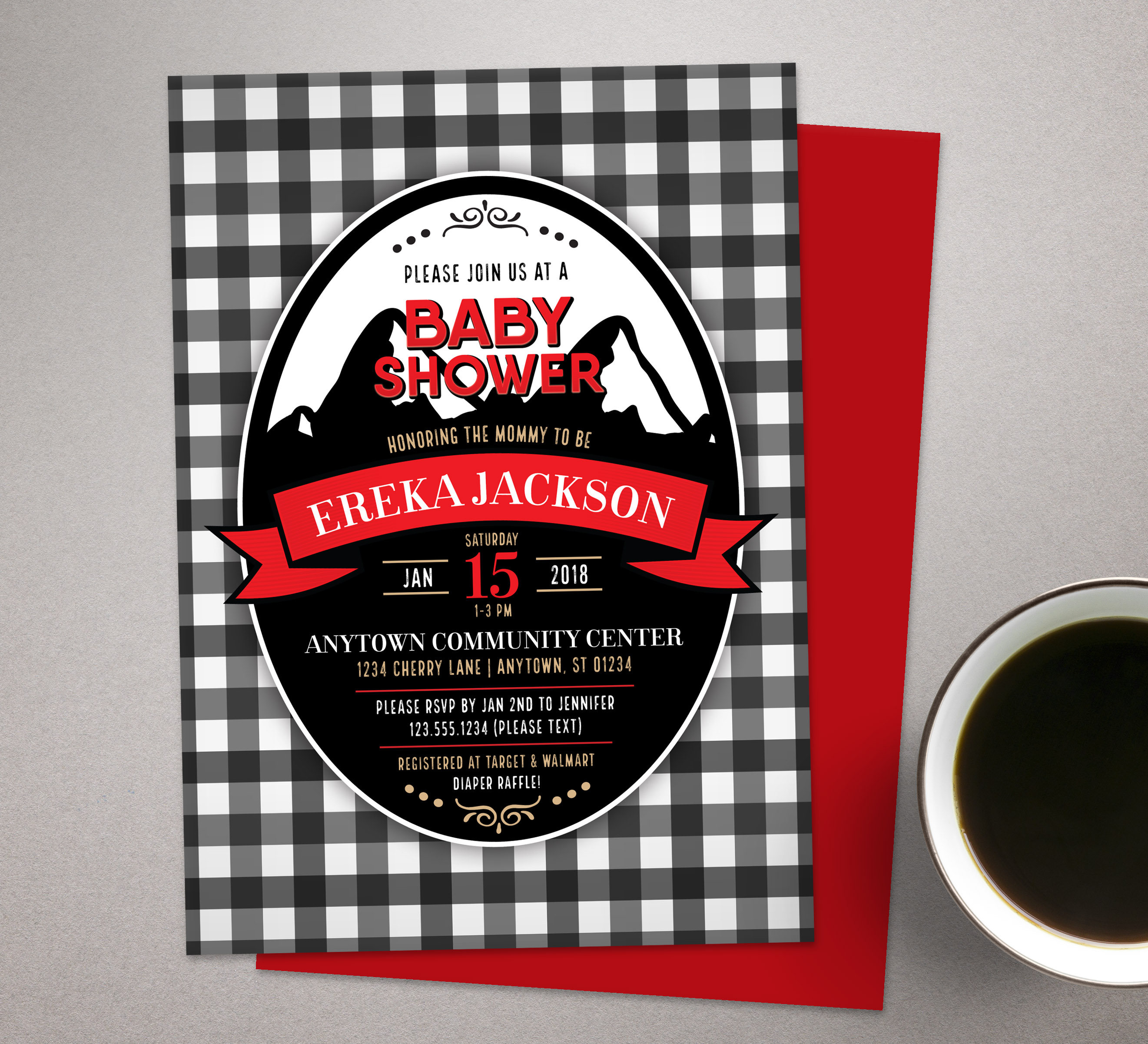 plaid baby shower invitation Buffalo Plaid Invites | Etsy