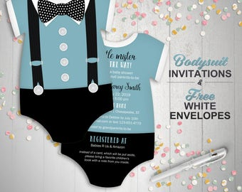 Unique invitations etsy boy baby shower invites bowtie invitations blue suspenders invitation little gentleman invites filmwisefo