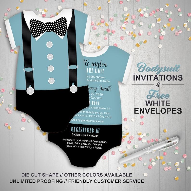Boy Baby Shower Invites Bowtie Invitations Blue Suspenders Etsy