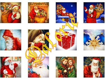 25 x 25 mm, Santa Claus, Collage, Board of Digital Images - Christmas - square