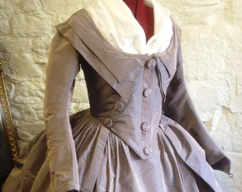 Custom made 18th Century Zone-front Redingote Gown