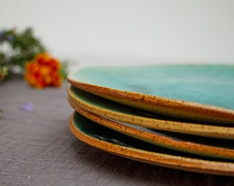 Ceramic Plate Set of 4, Small Dinner Plates for Lunch, Salad or Dessert, Handmade Pottery Blue and Green Stoneware Plates