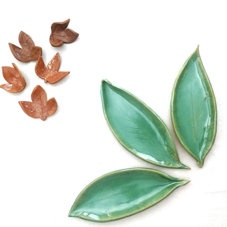 Green Ceramic Leaf Dish Set Set Of 3 Small Decorative image 0