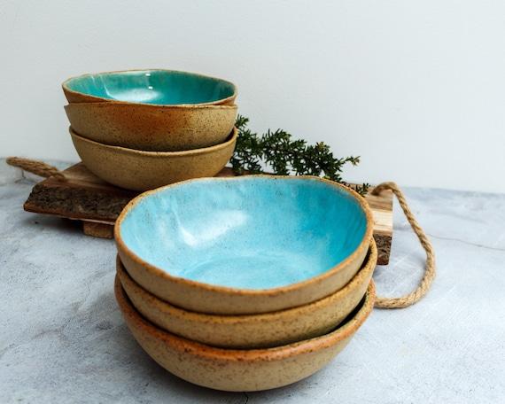 Muesli bowl snack bowl organic Serving bowl Handmade ceramic dessert bowl handmade bowl Turquoise Turquoise dessert bowl gift bowl