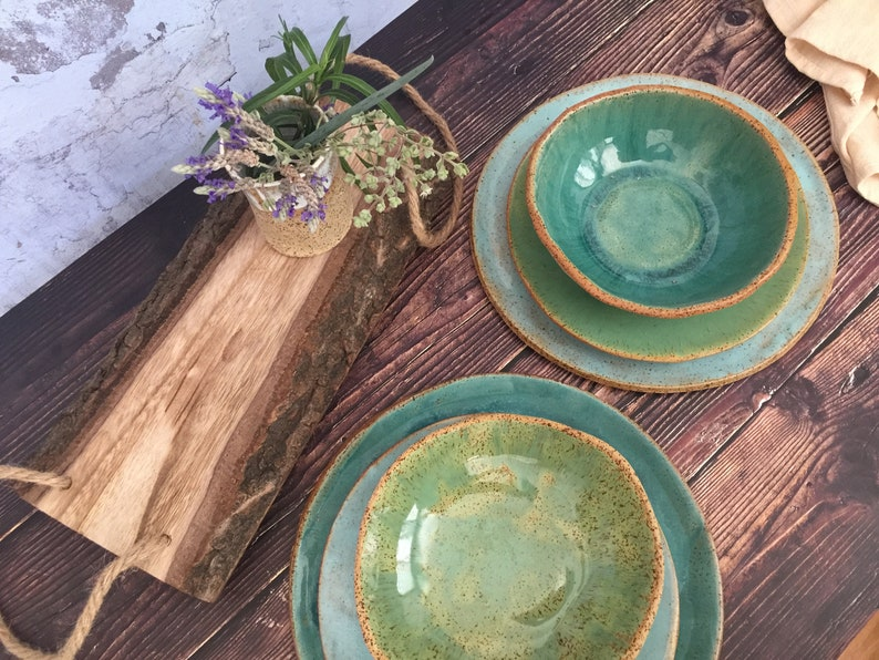 Pottery Wedding Gift Turquoise Ceramic Dinnerware Set for 2 image 0