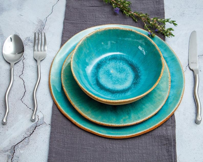 Colorful Ceramic Set Handmade Blue Ceramic Dishes 10 image 0