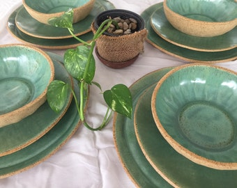 Ceramic Dinnerware Set for 4, Handmade Pottery 4/8/12 Person Dinner Plate Set, Ceramic Plates for Salad or Dessert and Ceramic Bowls